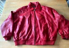PELLE PELLE LEATHER JACKET RED WITH DECORATIVE LOGO PRE-OWNED