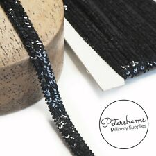 Teeny Triple Row Knitted Black Sequin Trim for Hat Trims & Millinery - 1m