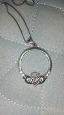 Claddagh Birthstone Necklace April Sterling Silver Shanore brand