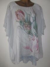 FREE SIZE 12-18 ITALIAN SILK OVERLAY BLUE LACE SHOULDER HEM SHIMMERY FLORAL TOP