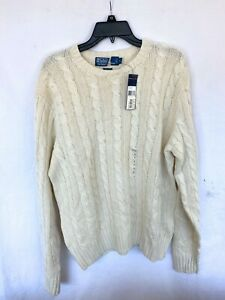Men's Polo Ralph Lauren Heavy Knitted Sweater Cable Chain Silk Large