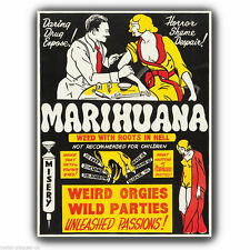 "METAL SIGN WALL PLAQUE Marihuana Marijuana Anti Drugs retro poster print 8""x6"""