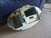 Vintage Bevelled Art Deco Oval Mirror