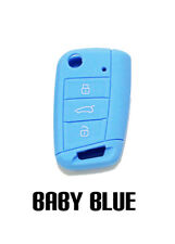 BABY BLUE SILICONE KEY FOB COVER CASE FOR VOLKSWAGEN VW MK7 MKVII BUTTON REMOTE