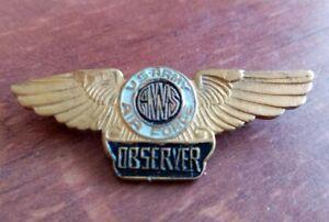 WW2 BRASS ENAMEL U. S. ARMY AIR FORCE OBSERVERS BADGE