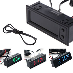 Digital LED Uhr Clock Temperatur Anzeige Thermometer Voltmeter 12V Auto Kfz 2019