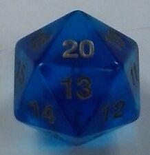 1x 55MM Transparent Blue w/Gold D20 Spin Down Die Magic MTG D&D RPG