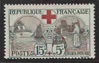 n°156 Croix rouge 15c+5c noir et rouge 1918 Neuf* TB