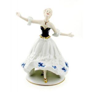 Vintage Wallendorf Porcelain Cobalt Ballerina Girl Figurine
