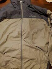 Columbia Sportswear Mens Hooded Zip Windbreaker Rain Jacket XXL Tan  black