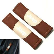 2Pcs JEEP Brown Leather Auto Car Seat Belt Covers Shoulder Pads Cushion