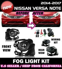 for NISSAN VERSA NOTE 14 15 16 Fog Lights Lamp Kit w/switch wiring (CLEAR)