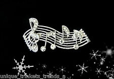 VINTAGE STYLE MUSIC NOTE TREBLE CLEF CLEAR RHINESTONE CHRISTMAS GIFT PIN BROOCH