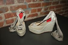 Authentic Christian Louboutin Espadrille Wedge With Ribbon Ties Size 38