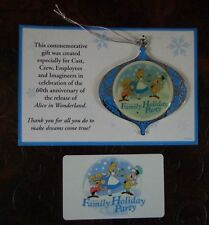 Disney Cast Alice In Wonderland Family Holiday Party Christmas Ornament 2011 New