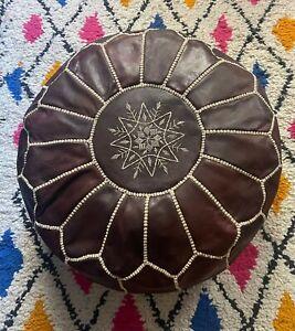 Handmade leather Moroccan pouffe dark brown  - unstuffed