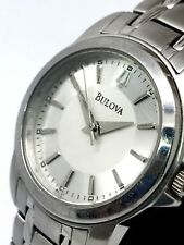 Bulova Ladies Classic Silver Dial Watch 96L151 Quartz Stainless Steel Used