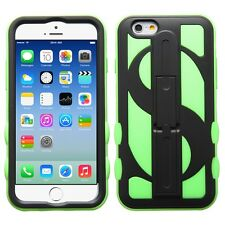 for APPLE iPhone 6 / 6S  (4.7 inch) BLACK GREEN MIX MONEY STAND SKIN COVER CASE
