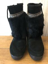 Minnetonka Mukluk Apres Boots Black Insulated Suede Leather Rabbit Fur Trim  9