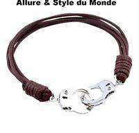 Bracelet Femme,Homme,Menottes Acier Chromé,Corde Marron,Tendance,Poignet 16-19cm