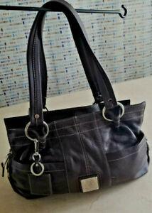 Women's TIGANELLO Dark Brown Leather Large Shoulder Bag Clean Inside