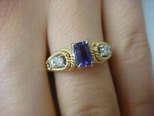 14K TWO TONE GOLD AMETHYST AND DIAMONDS VINTAGE LADIES RING,4 GRAMS,SIZE 6.75