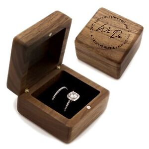 We Do Engraved Wood Ring Box, Ring Bearer Box for Wedding Ceremony, Double Ri...