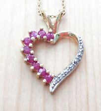 0.90ctw GENUINE RUBY STONE & DIAMOND HEART PENDENT NECKLACE NEW