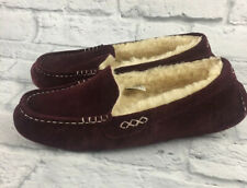 UGG Ansley Burgundy Suede Fur Slippers Womens Size 9