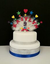 Hearts and star with feathers any name and age birthday/christening  cake topper