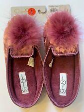 JESSICA SIMPSON SOFT VELVET FEATHER SLIPPERS MAUVE PINK WOMEN HARD SOLES L