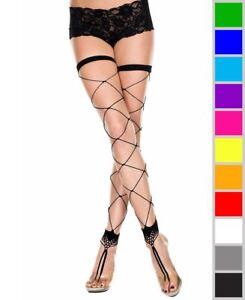 New Music Legs 4800 Footless Big Diamond Net Thigh High Stockings