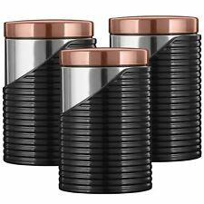 Tower 3pc Canisters Tea Coffee Sugar Containers Stainless Steel Black Rose Gold