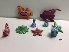 Vtg Terra Cotta Clay Folk Art Christmas Ornaments Mexican Sun Moon Birds