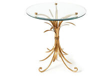 Gold Iron & Glass Wheat Design Accent/End Table,22''Diam x 24''H.