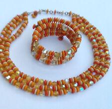 Glass Aurora Borealis Necklace Bracelet 2 Pcs Art Deco 3 Row Czech Crystal Coral
