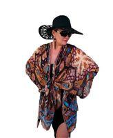Womens Silk Kimono Robe Blouse Coat Cardigan Jacket Beach Cover Up Tops 8-30 NEW