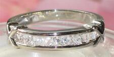 bn009  WOMENS SPARKLING PRINCESS CUT SIMULATED DIAMOND ETERNITY BAND RING