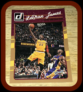 CLEVELAND CAVALIERS L A LAKERS 2016 DONRUSS LEBRON JAMES WITH KOBE BRYANT IN PIC
