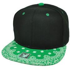 Black Green Bandana Print Pattern Flat Bill Hat Cap Snapback Plain Blank Solid