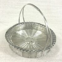 Vintage French Silver Plated Bread Basket Sweetmeat Bowl Dish Hand Woven Carrier