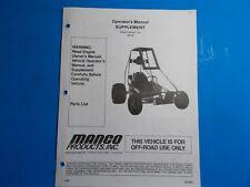 1998 Manco Machine Offroad Vehicle Model 388-38 Operators Manual Supplement