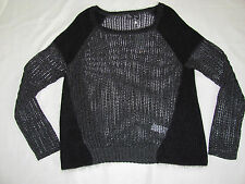 Eileen Fisher Ballet Neck Top -Charcoal/Black-Mohair/Alpaca-Large -NWT $298