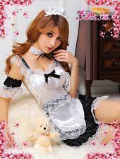 Sexy Black 7 Pieces Maid Cosplay Fancy Dress, Uniform Costume Lingerie, Size S-M