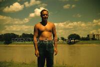 Kodak Slide 1950s Red Border Kodachrome Shirtless Man in Jeans Denim River