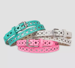 NEW Cat & Jack Girl's 3 Pack Belts White Butterflies Teal Hearts Pink Stars