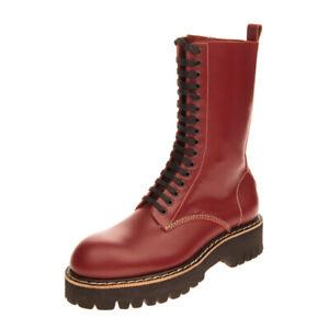RRP €650 DSQUARED2 Leather Combat Boots Size 45 UK 11 US 12 Polished Lug Sole
