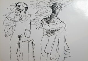 ABSTRACT SURREALISM  NUDE COUPLE PORTRAIT INK PAINTING SIGNED