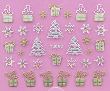 Christmas SILVER GOLD Snowflakes Xmas Trees Gifts 3D Nail Art Stickers Decals