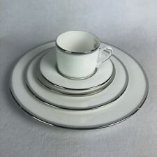 Lenox Columbus Circle 5 Piece Place Setting New China Dishes White Silver USA